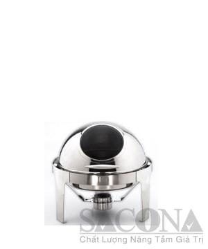 Round Roll Top Chafing Dish With Visible Lid/ Nồi Hâm Thức Ăn Sacona Tròn Nắp Kiếng