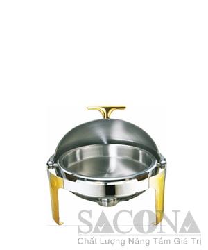 Round Roll Top Chafing Dish With Gold Leg/Nồi Hâm Thức Ăn Sacona Tròn Chân Vàng