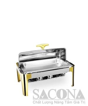 Full Size Chafing Dish With Gold Leg/ Nồi Hâm Thức Ăn Sacona Hình Chữ Nhật Chân Vàng