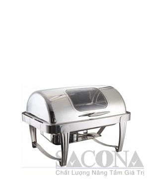 Roll Top Chafing Dish With Visible Cover/ Nồi Hâm Thức Ăn Hình Chữ Nhật( Nắp Kính – Chân Inox Trắng)