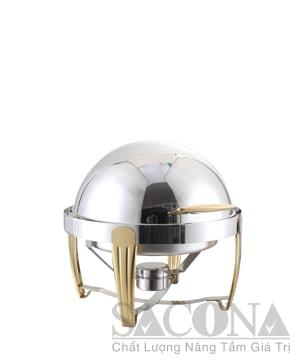 Round Roll Top Chafing Dish With Gold Leg/ Nồi Hâm Thức Ăn Sacona Tròn Chân Vàng