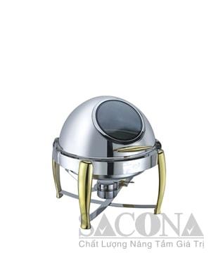 Round Roll Top Chafing Dish With Gold Leg & Visible Cover/ Nồi Hâm Thức Ăn Sacona Tròn Nắp Kiếng Chân Vàng