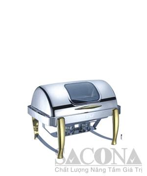 Roll Top Chafing Dish With Gold Leg & Visible Cover/ Nồi Hâm Thức Ăn Sacona Hình Chữ Nhật Nắp Kiếng Chân Vàng