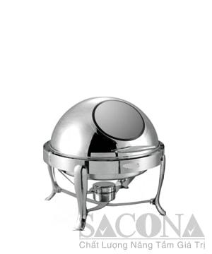 Round Roll Top Chafing Dish With Visible Cover/ Nồi Hâm Thức Ăn Sacona Tròn Nắp Kiếng