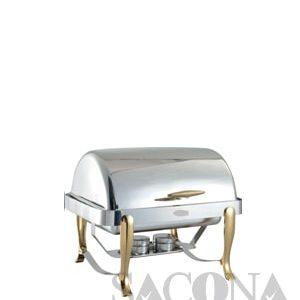 Roll Top Chafing Dish With Gold Leg/ Nồi Hâm Thức Ăn Sacona Hình Chữ Nhật Chân Vàng