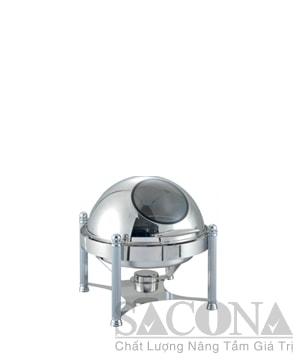 Round Roll Top Chafing Dish With Visible Cover/ Nồi Hâm Thức Ăn Sacona Tròn Nắp Kính