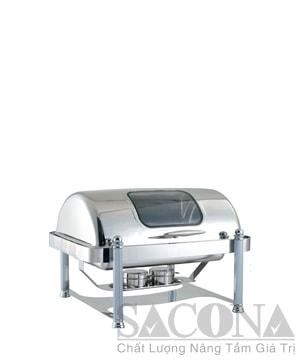Full Size Roll Top Chafing Dish With Visible Cover/ Nồi Hâm Thức Ăn Chữ Nhật( Nắp Kính - Chân Inox Trắng )