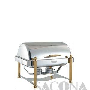Full Size Roll Top Chafing Dish With Gold Leg/ Nồi Hâm Thức Ăn Sacona Hình Chữ Nhật Chân Vàng