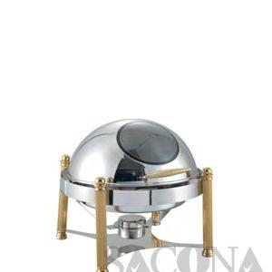 Round Roll Top Chafing Dish With Gold Leg & Visible Cover/ Nồi Hâm Thức Ăn Sacona Tròn Nắp Kính Chân Vàng