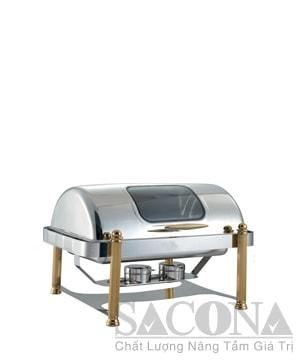 Full Size Roll Top Chafing Dish With Gold Leg & Visible Cover/ Nồi Hâm Thức Ăn Sacona Hình Chữ Nhật Nắp Kiếng Chân Vàng