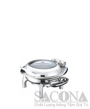 Round Chafing Dish With Glass Lid & Hydraulic Hinge/ Nồi Hâm Thức Ăn Sacona Tròn Nắp Kiếng