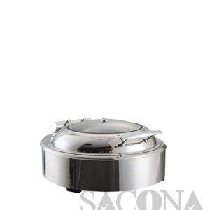 Round Chafing Dish With Glass Lid & Hydraulic Hinge/ Nồi Hâm Thức Ăn Sacona Tròn Nắp Kiếng Dùng Điện