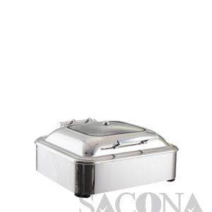 Square Chafing Dish With Glass Lid & Hydraulic Hinge/ Nồi Hâm Thức Ăn Sacona Hình Vuông Nắp Kiếng Dùng Điện