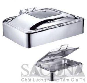 Rectangle Chafing Dish With Glass Lid & Hydraulic Hinge/ Nồi Hâm Thức Ăn Sacona Hình Chữ Nhật Nắp Kiếng Dùng Điện- Thiết bị dụng cụ tiệc Buffet
