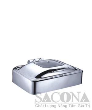 Rectangle Chafing Dish With Glass Lid & Hydraulic Hinge/ Nồi Hâm Thức Ăn Sacona Hình Chữ Nhật Nắp Kiếng Dùng Điện