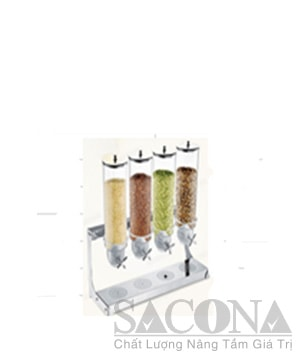 Stainless Steel Four Heads Cereal Dispenser / Bình Đựng Ngũ Cốc Sacona 4 Ngăn