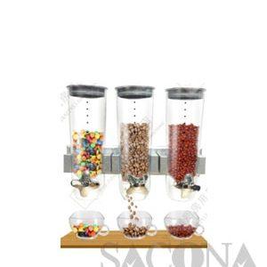 Wall - Mounted Triple Heads Cereal Dispenser / Bình Đựng Ngũ Cốc Sacona 3 Ngăn