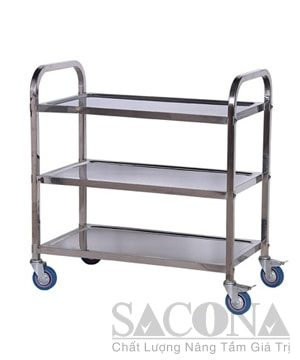 3-Storey Stainless Steel Trolley Square Tube / Xe Đẩy Inox 3 Tầng Ống Vuông