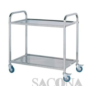 Stainless Steel Trolley 2 Floor Square Tube / Xe Đẩy Inox 2 Tầng Ống Vuông